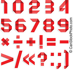 Font folded from colored paper - Arabic numerals, red