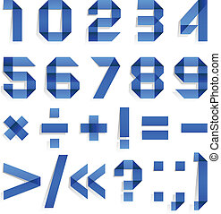 Font folded from colored paper - Arabic numerals
