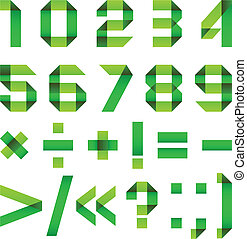 Font folded from green paper - Arabic numerals