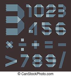 Font from bluish scotch tape - Arabic numerals