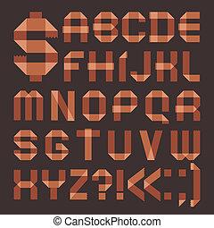 Font from brownish scotch tape -  Roman alphabet