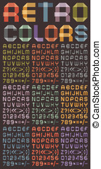 Font from colored scotch tape - Arabic numerals and Roman...