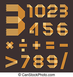 Font from yellowish scotch tape - Arabic numerals