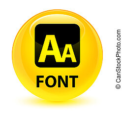 Font glassy yellow round button