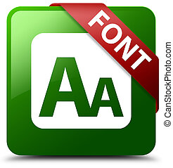 Font green square button red ribbon in corner