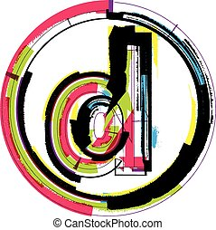 font, grunge, colorito, lettera, d
