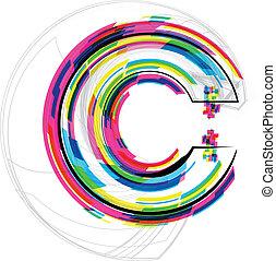 Font Illustration. LETTER C. Vector illustration