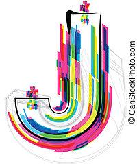 Font Illustration. LETTER J. Vector illustration