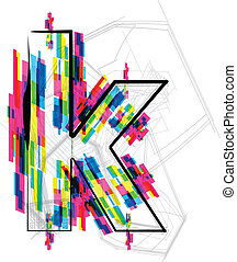 font Illustration. LETTER k. Vector illustration
