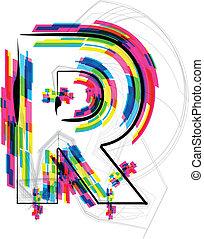 Font Illustration. LETTER R. Vector illustration