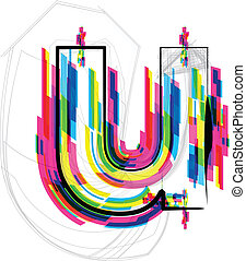 font Illustration. LETTER u. Vector illustration