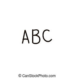 font letter a, b, c, alphabet cartoon ink pen Icon sketch style Vector illustration for web