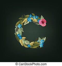 font., letter., coloré, alphabet., fleur, lowercase.
