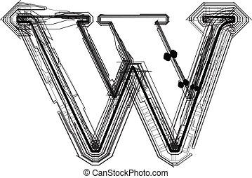 font., lettre, w, technologique