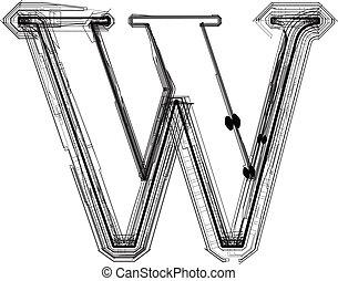 font., litera, w, techniczny