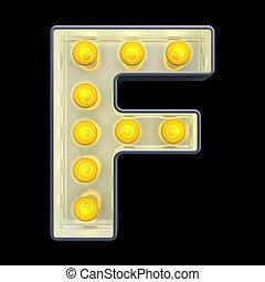 font., lumière, rendre, incandescent, retro, lettre, ampoule, f, 3d