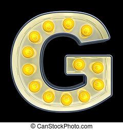 font., lumière, rendre, incandescent, retro, lettre, ampoule, g, 3d