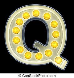 font., lumière, rendre, incandescent, retro, lettre, ampoule, q, 3d