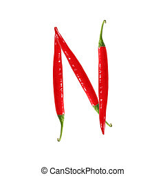 Font made of hot red chili pepper isolated on white - letter N