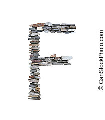 Font of F to create from stone wall isolated on white.