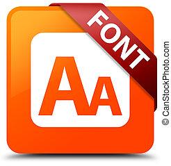 Font orange square button red ribbon in corner