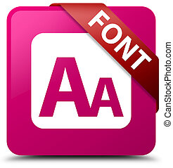 Font pink square button red ribbon in corner
