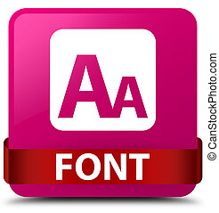 Font pink square button red ribbon in middle