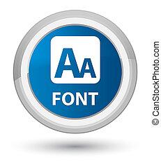Font prime blue round button