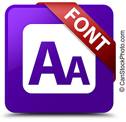 Font purple square button red ribbon in corner