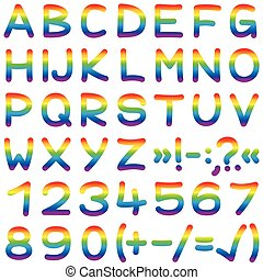 Font Rainbow Colors Alphabet Letter