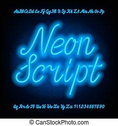 font., scénario, alphabet, lettres, minuscule, numbers., majuscule, néon, bleu