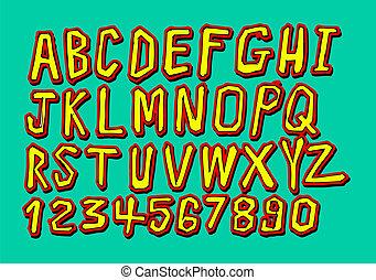 font, schizzo, mano, disegno