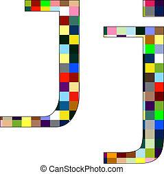 Font Set 1 Letter J Isolated on White