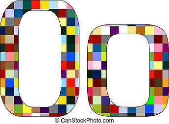 Font Set 1 Letter O Isolated on White