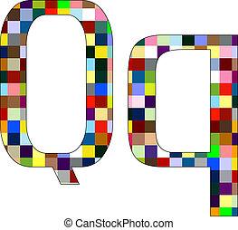 Font Set 1 Letter Q Isolated on White