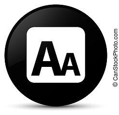 Font size box icon black round button
