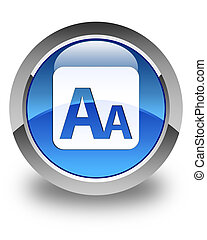 Font size box icon glossy blue round button