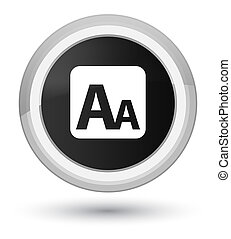 Font size box icon prime black round button