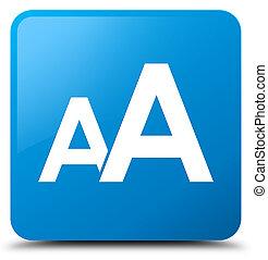 Font size icon cyan blue square button