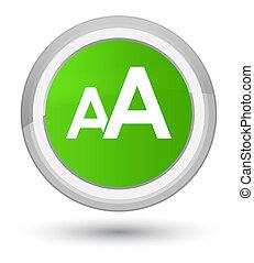 Font size icon prime soft green round button