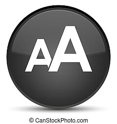 Font size icon special black round button
