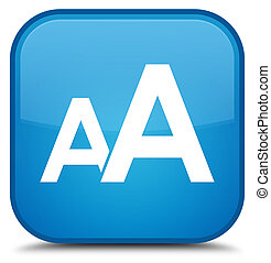 Font size icon special cyan blue square button