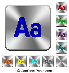 Font size rounded square steel buttons