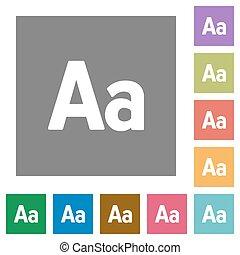 Font size square flat icons