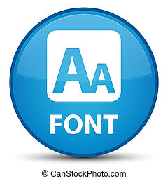 Font special cyan blue round button