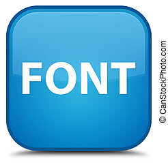 Font special cyan blue square button
