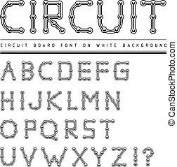 Font stylized track electronic circuit board.