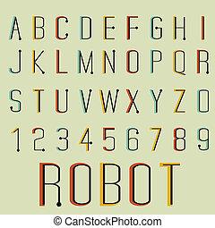 font., wektor, retro, ilustracja, robot