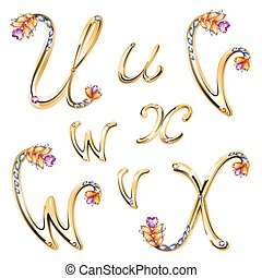 Font with diamonds and gems - Vector volume shiny bronze...