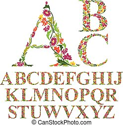 Font with leaves, floral letters